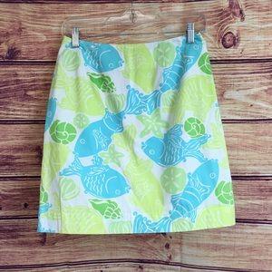 Lilly Pulitzer Skirts - Lilly Pulitzer Fish Aqua Blue & Green Print Skirt